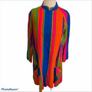 Vintage groovy mod print striped dress size S/M
